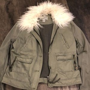 marrakech Jackets & Coats - Furry color Anthropologie olive green jacket